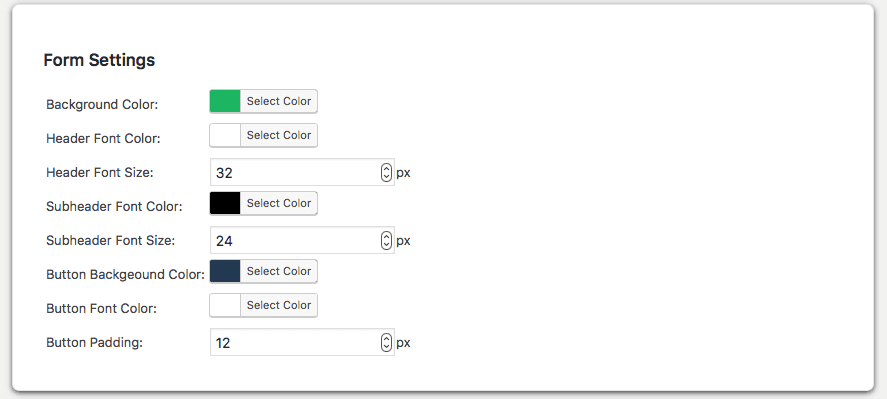wprequal form settings